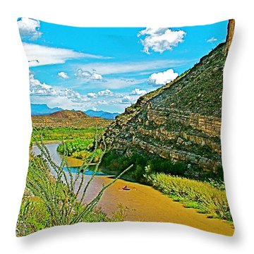 Rafting In Santa Elena Canyon In Big Bend National Park-texas Throw Pillow