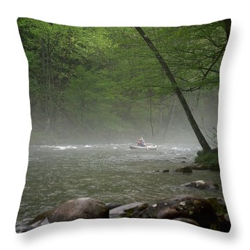 Rafting Misty River Throw Pillow