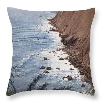Ragged Point California Throw Pillow by Barbara Barber