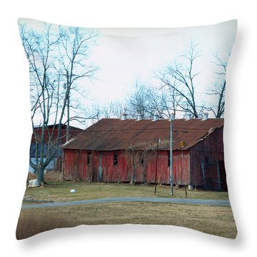 Ragged Red Shed I Throw Pillow by Paulette B Wright