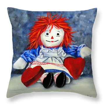 Raggedy Ann With Hearts Throw Pillow by Helen Eaton