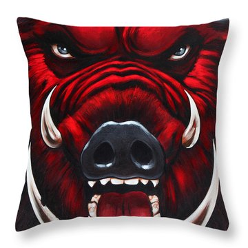 Raging Hog Throw Pillow