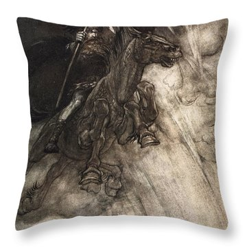 Raging, Wotan Rides To The Rock! Like Throw Pillow by Arthur Rackham