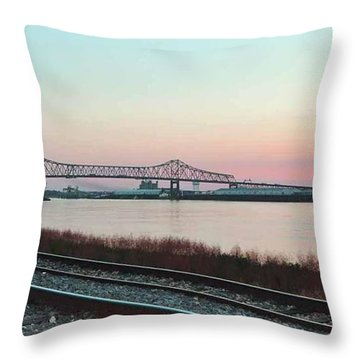 Throw Pillow featuring the photograph Rail Along Mississippi River by Charlotte Schafer