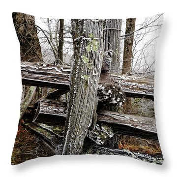 Rail Fence With Ice Throw Pillow