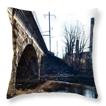 Rail Road Bridge Over The Brandywine Creek Downingtown Pa Throw Pillow by Bill Cannon