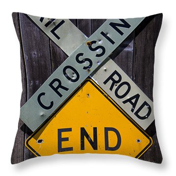 Rail Road Crossing End Sign Throw Pillow by Garry Gay