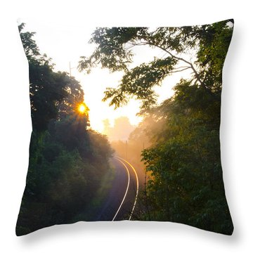 Rail Road Sunrise Throw Pillow by Bill Cannon