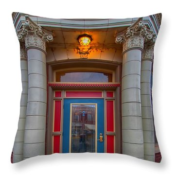Railey And Bro Bkg Co Building Throw Pillow by Liane Wright