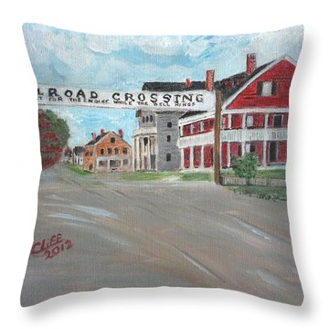 Railroad Crossing Throw Pillow