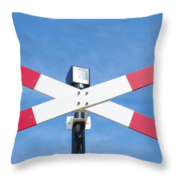 Railroad Crossing Sign Throw Pillow by Hans Engbers