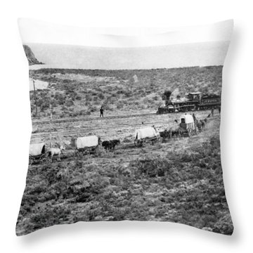 Railroad Meets Wagon Train Throw Pillow by Underwood Archives