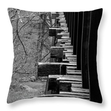 Throw Pillow featuring the photograph Railroad Ties On Trestle Bridge by Kristen Fox