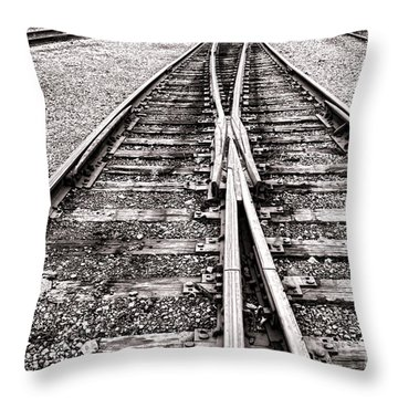 Railroad Tracks Throw Pillow by Olivier Le Queinec