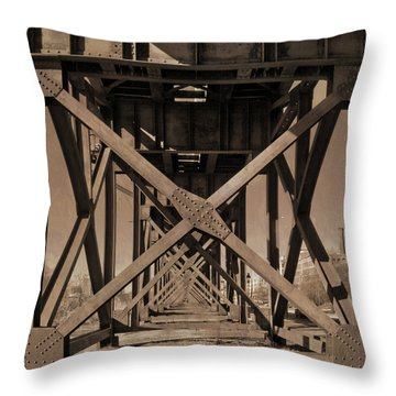 Railroad Trestle Sepia Throw Pillow