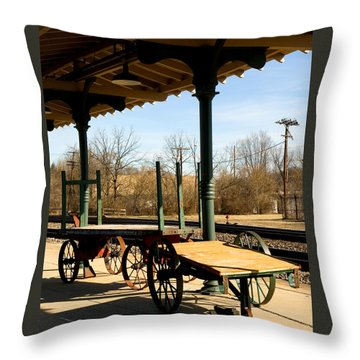 Railroad Wagons Throw Pillow