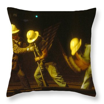 Throw Pillow featuring the photograph Railroad Workers by Mark Greenberg