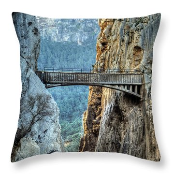 Throw Pillow featuring the photograph Railway Bridge In El Chorro by Julis Simo