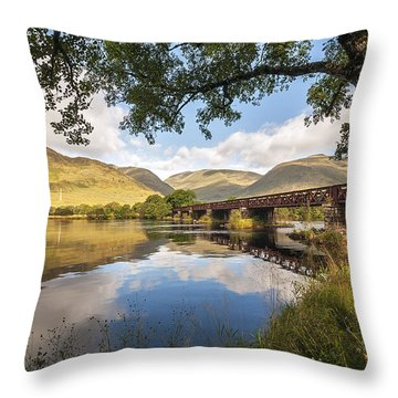 Railway Viaduct Over River Orchy Throw Pillow