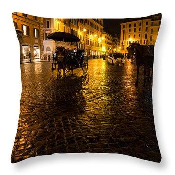 Rain Chased The Tourists Away... Throw Pillow by Georgia Mizuleva
