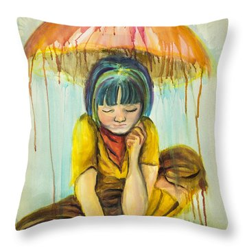 Throw Pillow featuring the painting Rain Day  by Angelique Bowman
