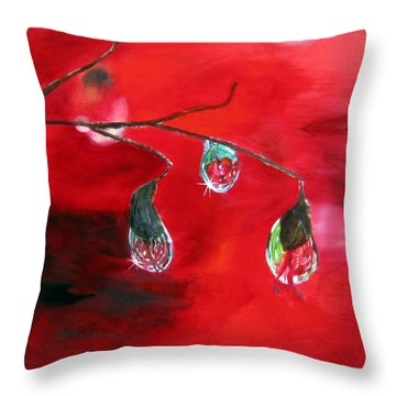 Throw Pillow featuring the painting Rain Drops Study by LaVonne Hand