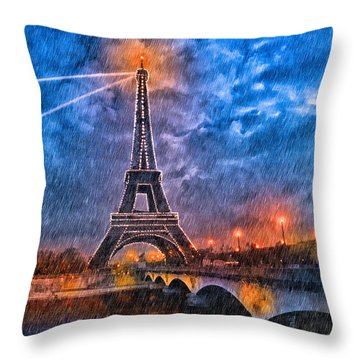 Rain Falling On The Eiffel Tower At Night In Paris Throw Pillow by Mark E Tisdale