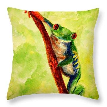 Rain Forest Frog Throw Pillow
