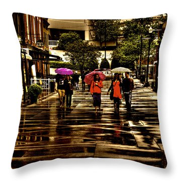 Rain In Market Square - Knoxville Tennessee Throw Pillow by David Patterson