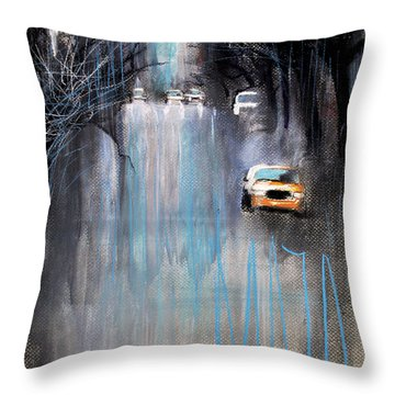 Throw Pillow featuring the drawing Rain In New York by Maja Sokolowska