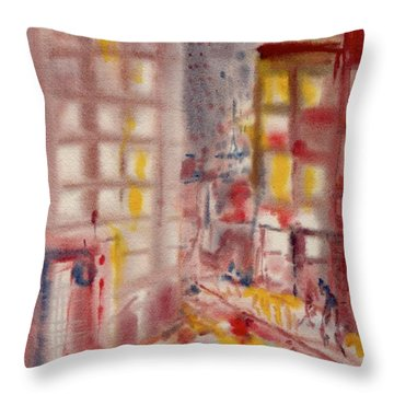 Throw Pillow featuring the painting Rain In The City by Mary Armstrong