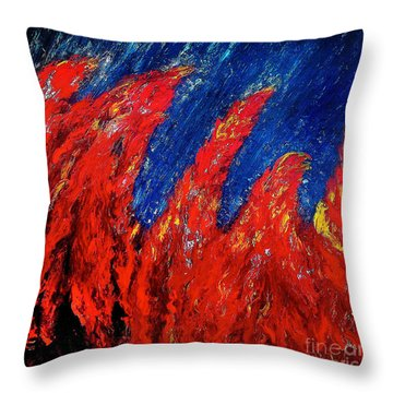 Rain On Fire Throw Pillow