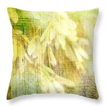 Rain On Leaves Throw Pillow by Suzanne Powers