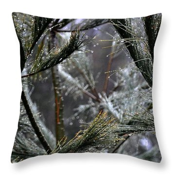 Rain On Pine Needles Throw Pillow