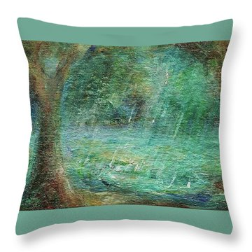 Rain On The Pond Throw Pillow