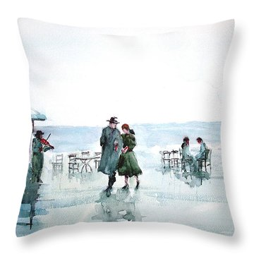 Throw Pillow featuring the painting Rain Serenad - Moments Of Life... by Faruk Koksal
