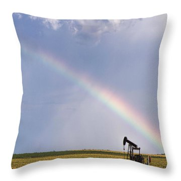 Rainbow And Oil Pump Throw Pillow by Rob Graham