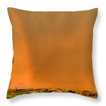 Rainbow And The Windmill Throw Pillow by Steven Reed