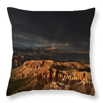 Throw Pillow featuring the photograph Rainbow And Thunderstorm Over The Paunsaugunt Plateau  by Dave Welling
