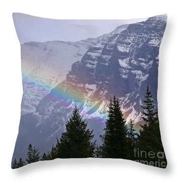 Rainbow At Glacier National Park Throw Pillow