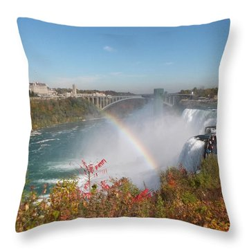 Rainbow At The American Falls Throw Pillow