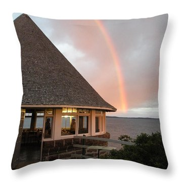 Rainbow At The Bath House Minister Island Nb Throw Pillow