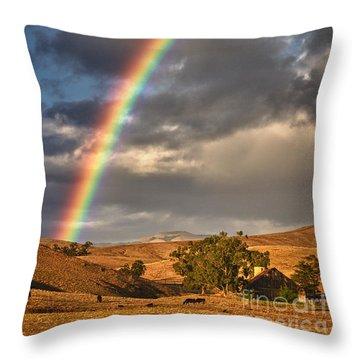 Rainbow Barn Throw Pillow by Alice Cahill