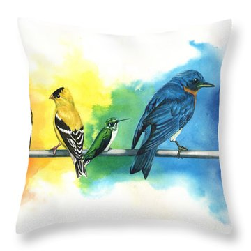 Rainbow Birds Throw Pillow