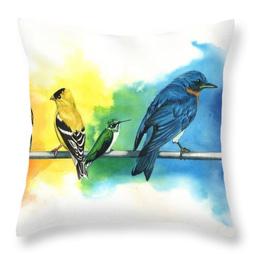 Rainbow Birds Throw Pillow by Antony Galbraith