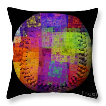 Rainbow Bliss Baseball Square Throw Pillow by Andee Design
