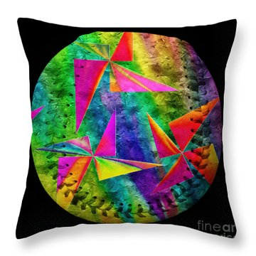 Rainbow Bliss Pinwheels Baseball Square Throw Pillow by Andee Design