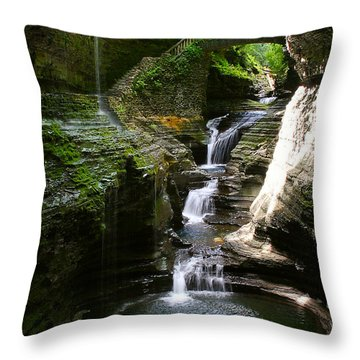 Rainbow Bridge And Falls Throw Pillow by Richard Engelbrecht