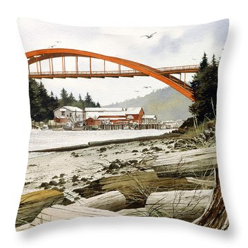 Rainbow Bridge Throw Pillow by James Williamson