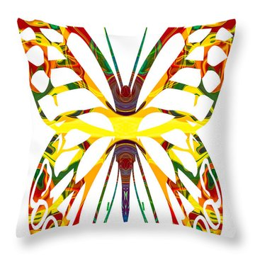 Rainbow Butterfly Abstract Nature Artwork Throw Pillow by Omaste Witkowski